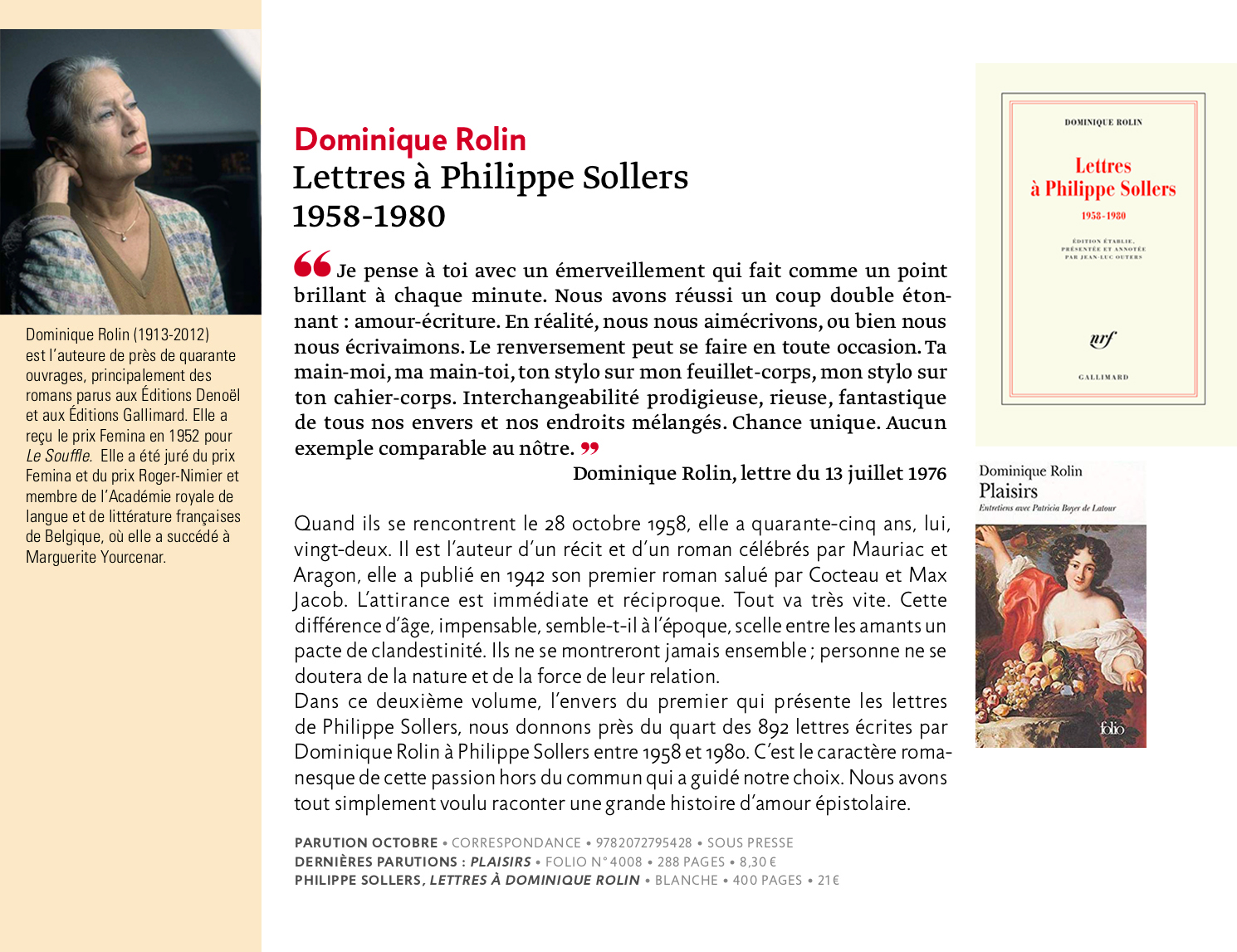 Dominique Rolin, lettres à Philippe Sollers