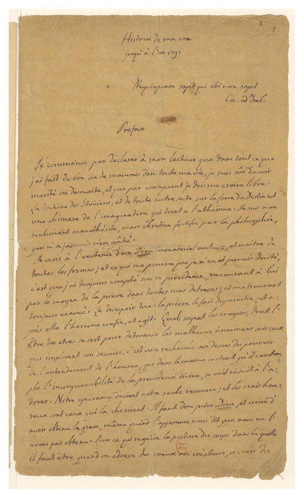 La premi�re page du manuscrit de Casanova