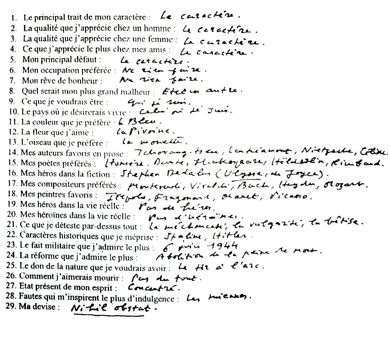 Favorit SOLLERS Le questionnaire de Proust RH53