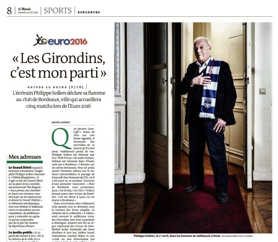 Philippe Sollers - Le Monde 23 avril 2016